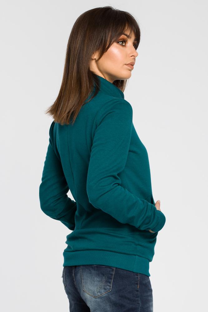 CM3438 Bluza z wysokim kołnierzem - zielona