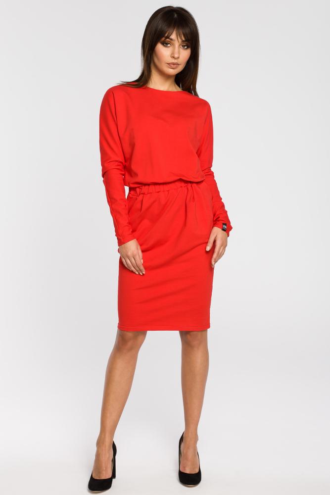 CM3443 Sukienka z gumą w pasie i długimi rękawami - czerwona
