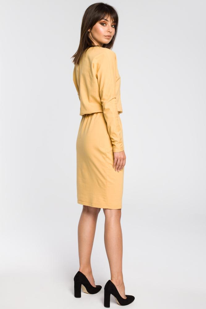 CM3443 Sukienka z gumą w pasie i długimi rękawami - żółta