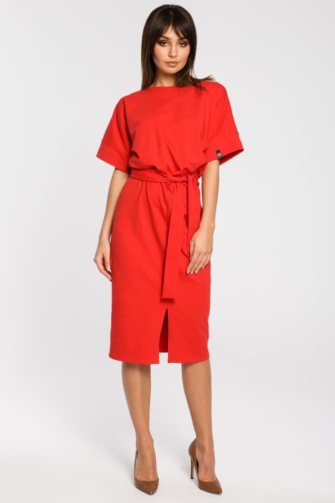 CM3445 Dzianinowa sukienka z rozcięciem - czerwona