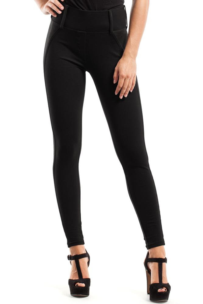 CM2443 Szykowne spodnie z zamszową wstawką - czarne
