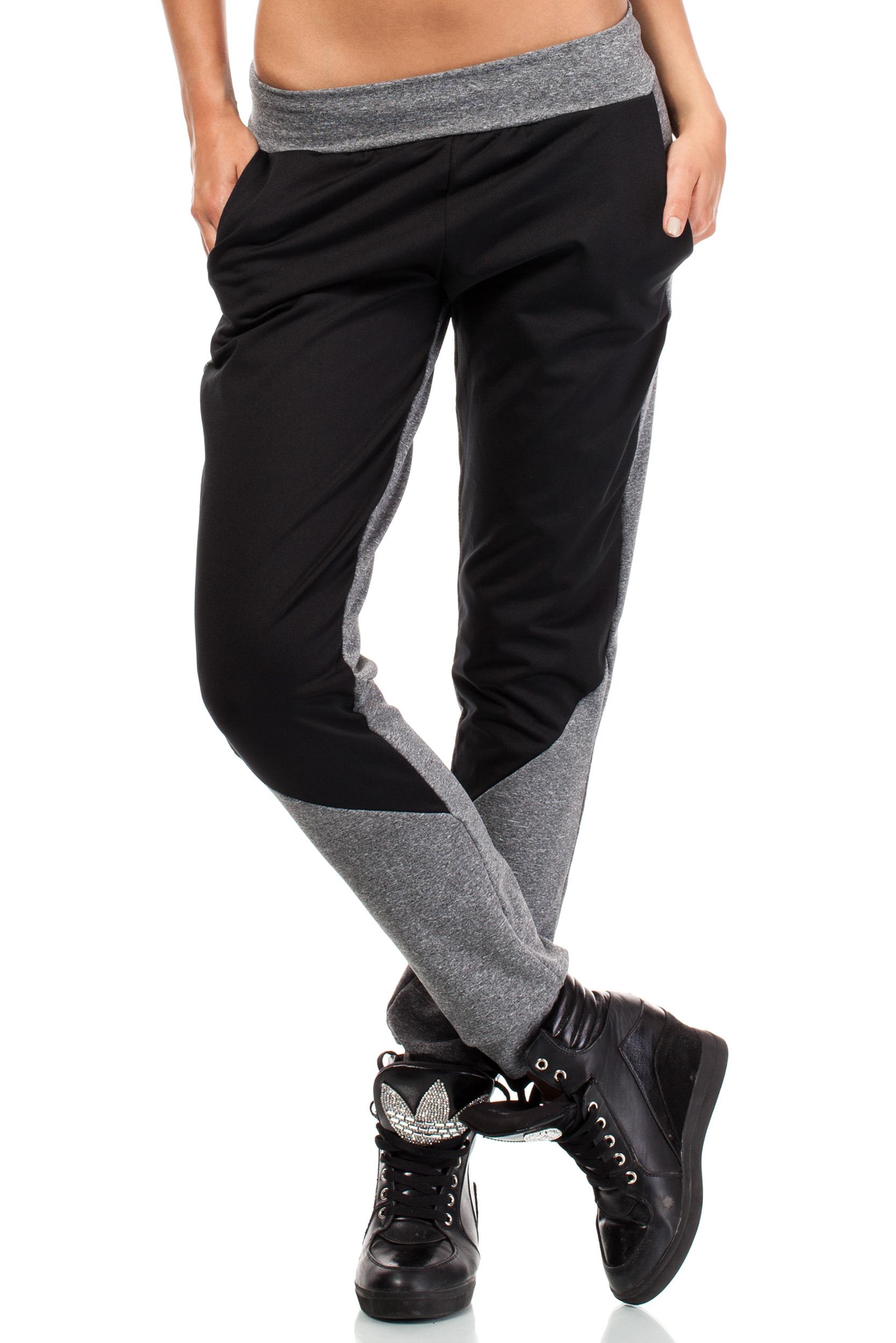 CM1844 Dwukolorowe sportowe spodnie damskie - model 1