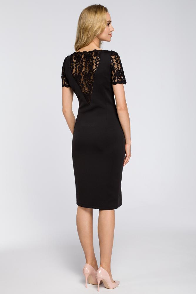CM2624 Kobieca sukienka z koronką na plecach - czarna