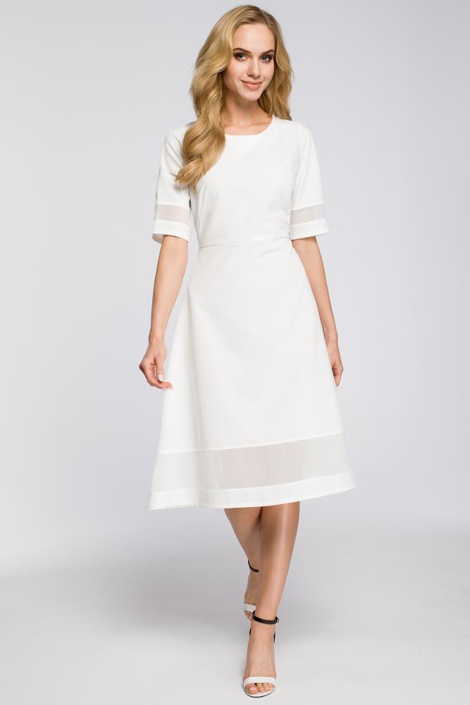 CM2622 Szyfonowa sukienka wieczorowa - ecru