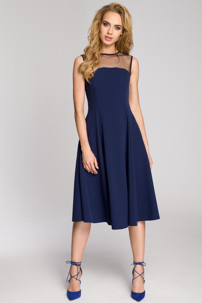 CM2621 Rozkloszowana sukienka wieczorowa z tiulową górą - granatowa
