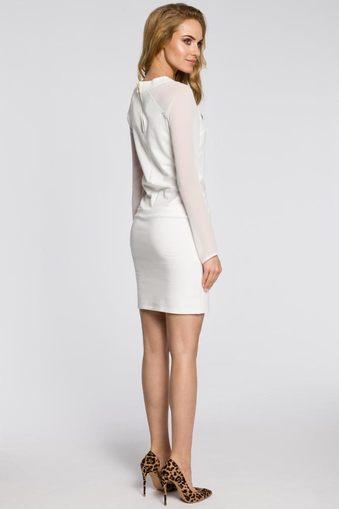 CM2054 Koktajlowa sukienka z raglanowymi rękawami - ecru