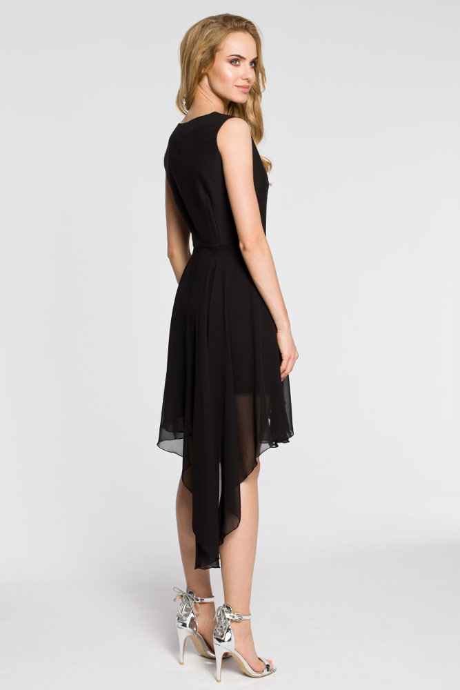 CM2048 Wieczorowa asymetryczna sukienka mini z tiulowym dołem - czarna