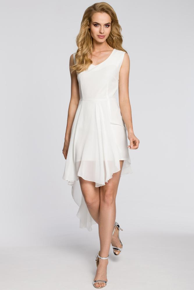 CM2048 Wieczorowa asymetryczna sukienka mini z tiulowym dołem - ecru