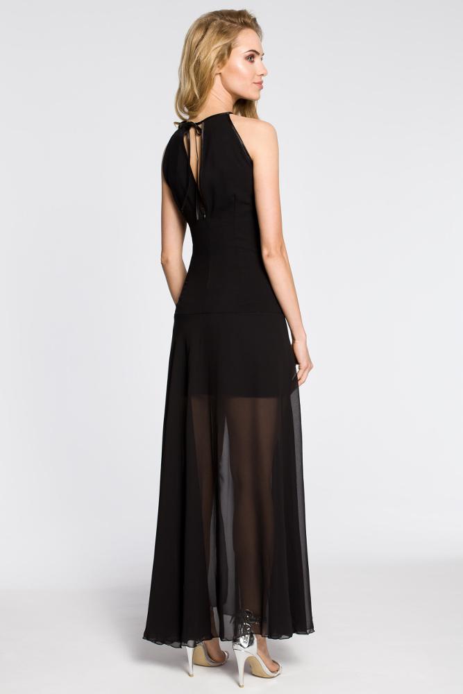 CM2047 Wieczorowa sukienka maxi z tiulowym dołem - czarna