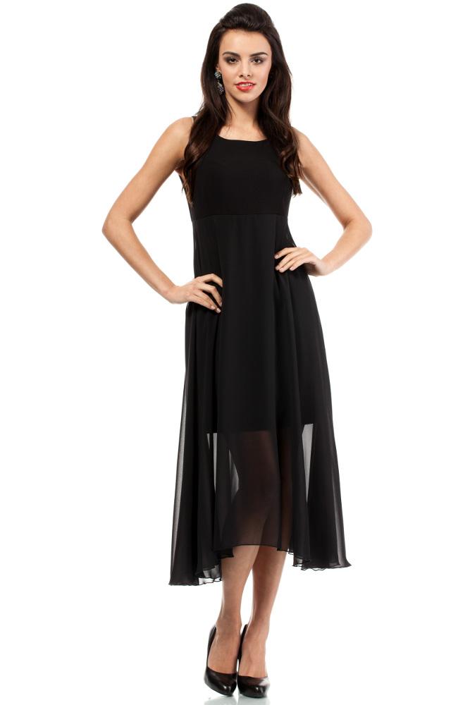 CM2051 Wieczorowa asymetryczna sukienka mini dekolt V - czarna