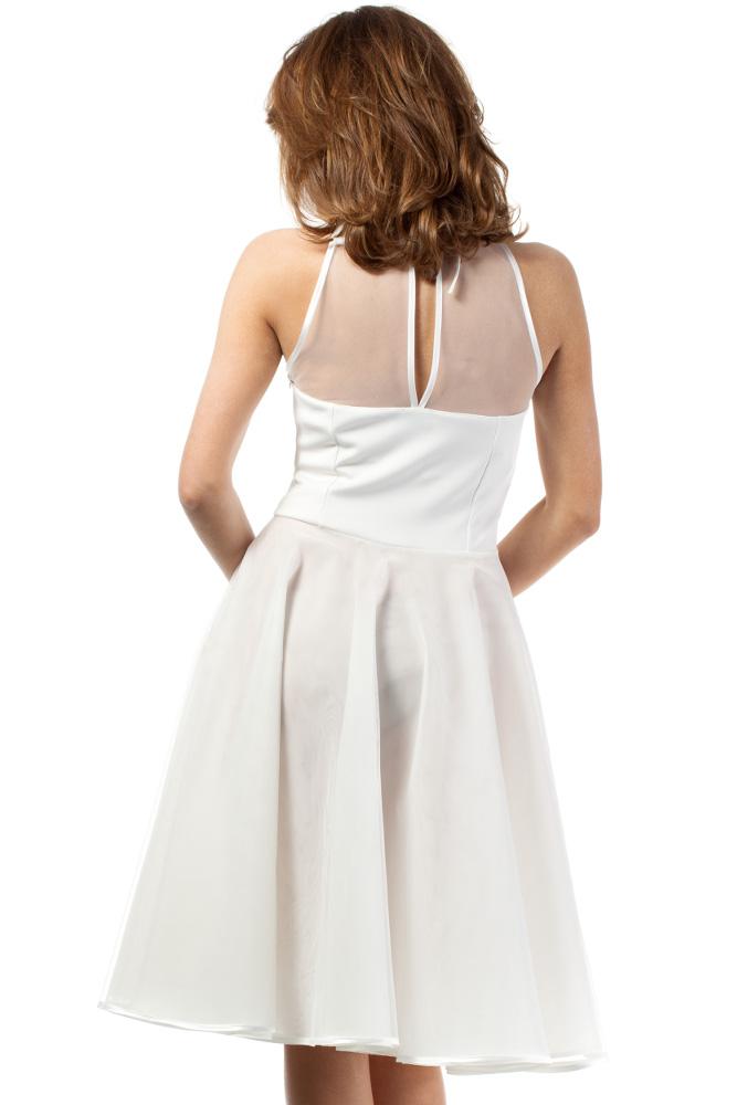 CM1183 Wieczorowa sukienka z dopasowaną górą - ecru