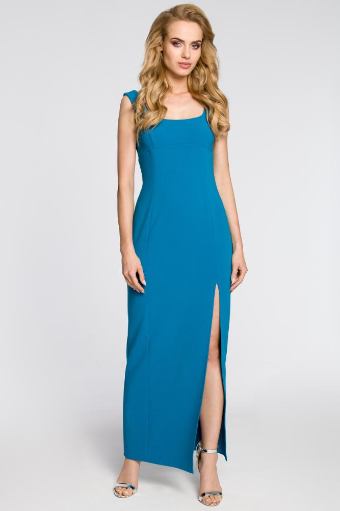 CM2050 Formalna sukienka wieczorowa z rozcięciem - turkusowa