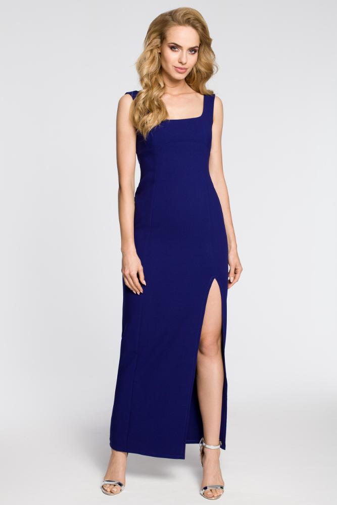 CM2050 Formalna sukienka wieczorowa z rozcięciem - granatowa