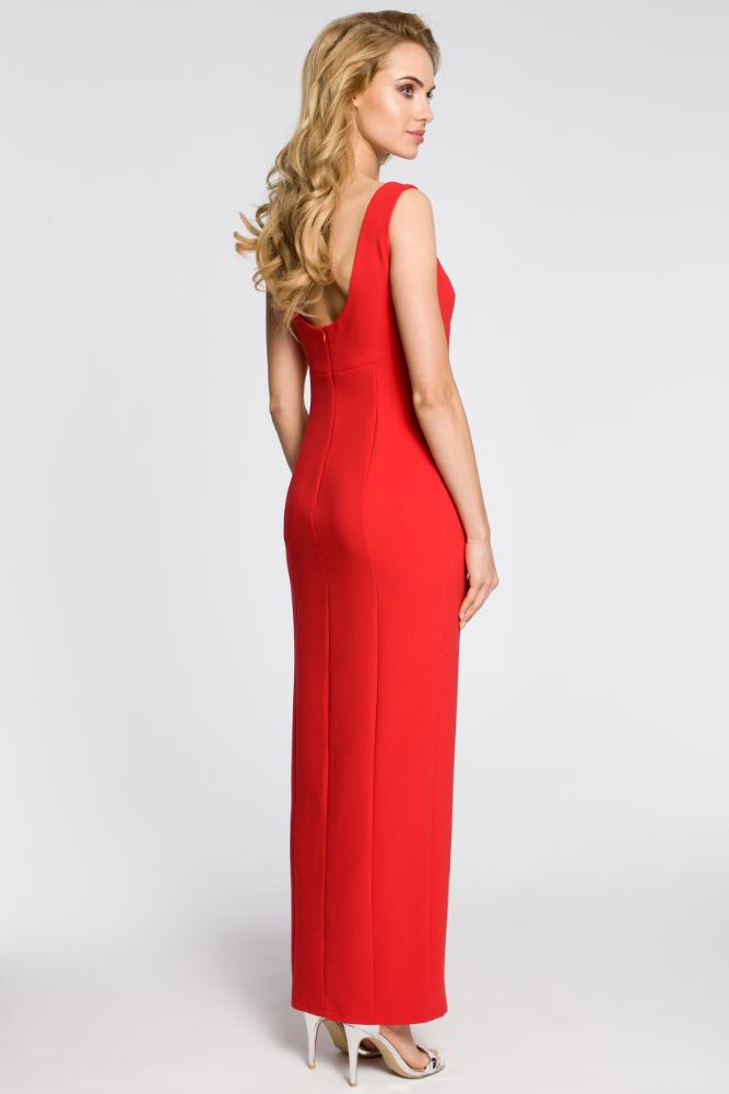 CM2050 Formalna sukienka wieczorowa z rozcięciem - czerwona