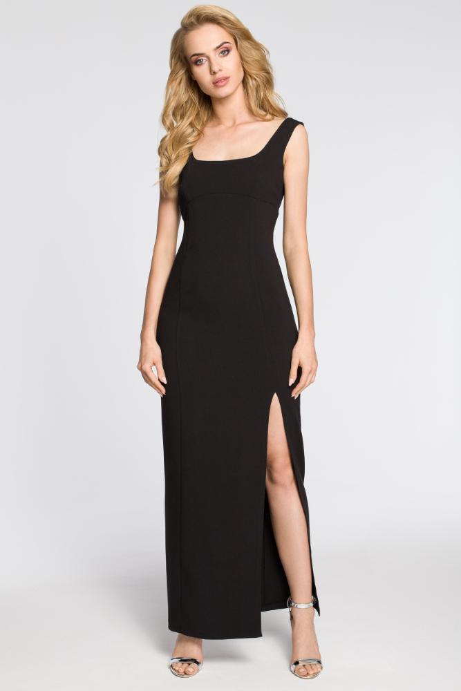 CM2050 Formalna sukienka wieczorowa z rozcięciem - czarna