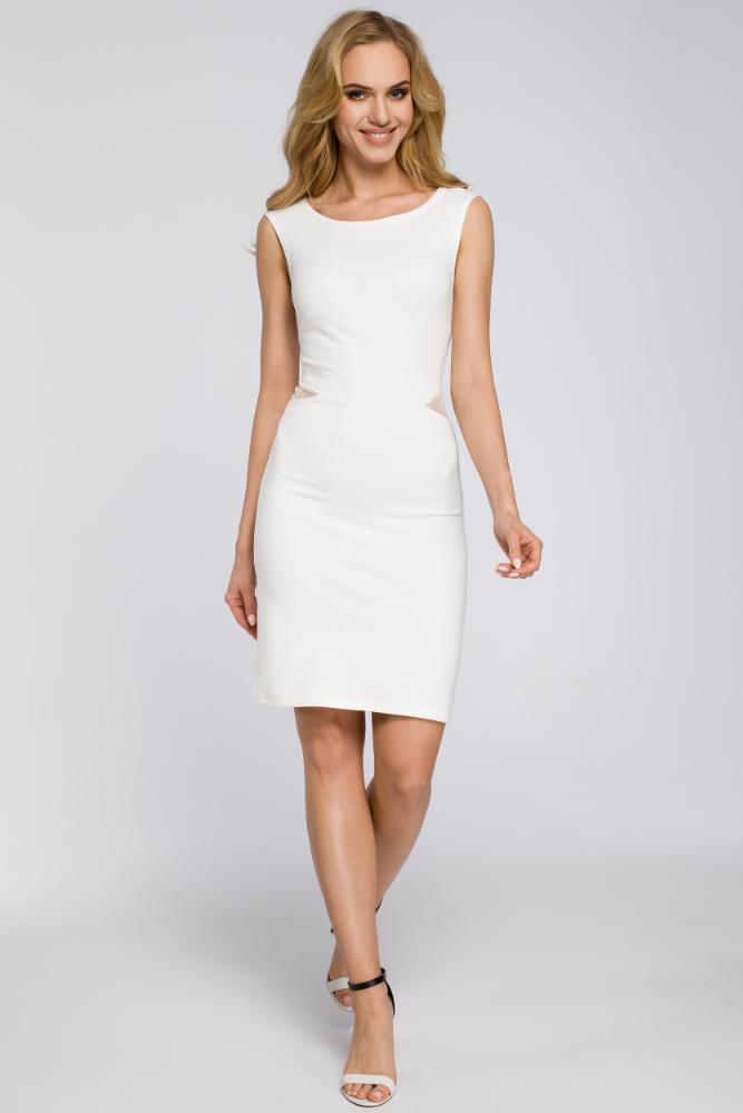 CM2569 Wieczorowa sukienka bez rękawów - ecru