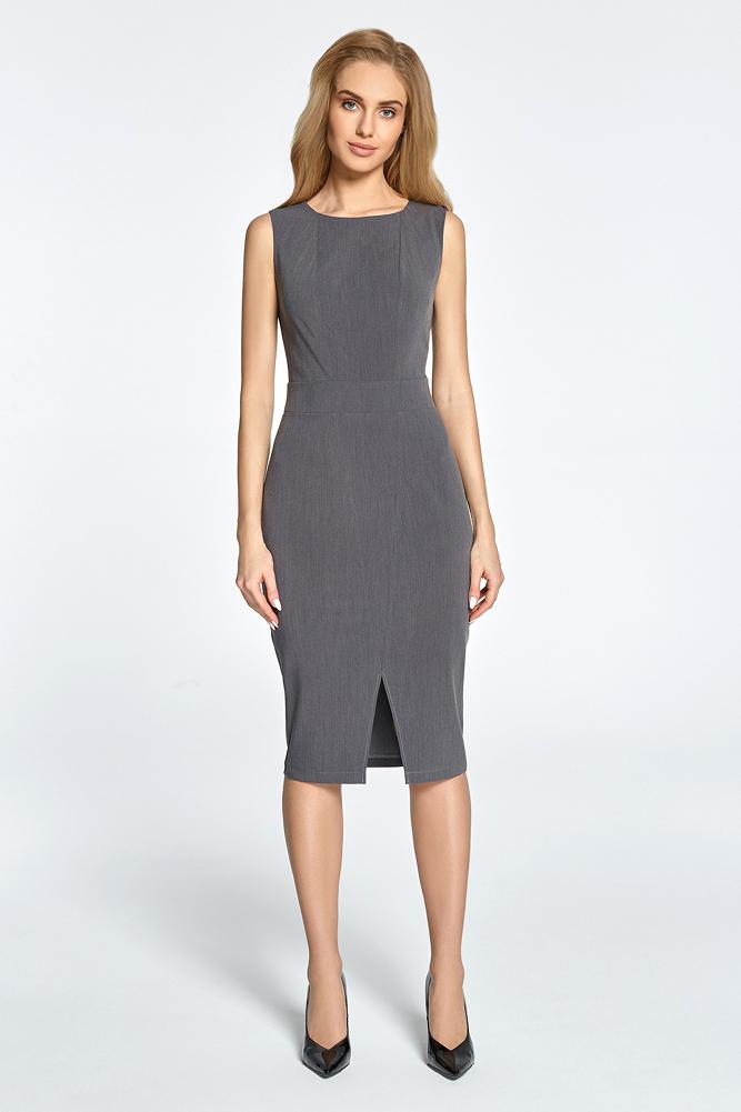 CM3451 Taliowana sukienka bez rękawów - szara