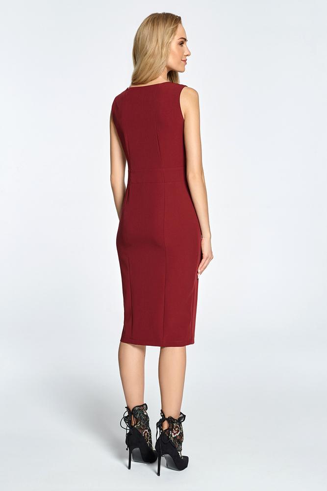 CM3451 Taliowana sukienka bez rękawów - bordowa