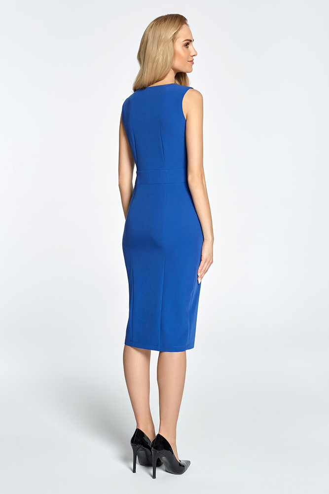 CM3451 Taliowana sukienka bez rękawów - chabrowa