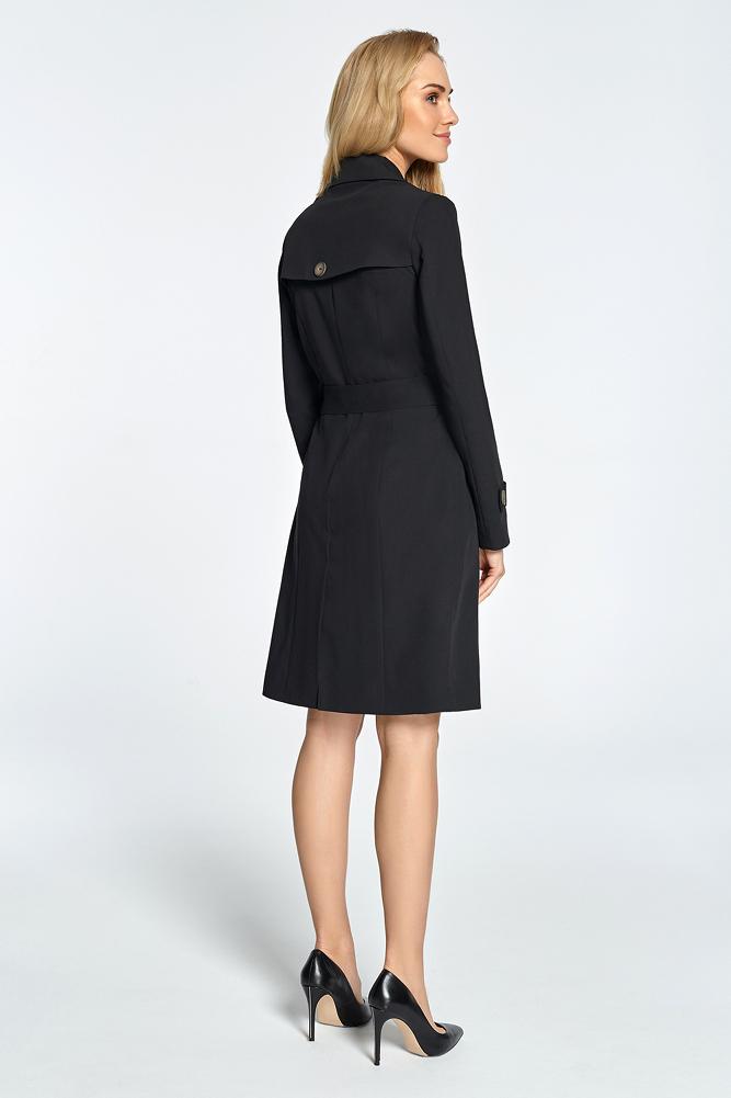 CM3453 Lekko taliowany płaszcz ze szlufkami - czarny
