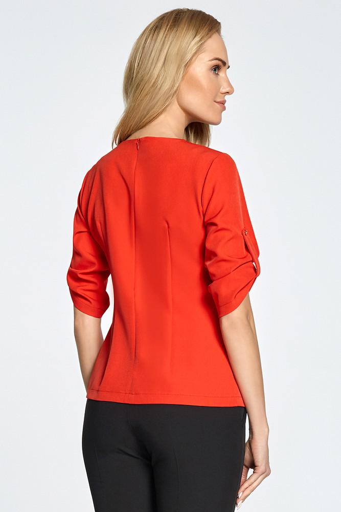 CM3456 Trapezowa bluzka z kontrafałdą - czerwona