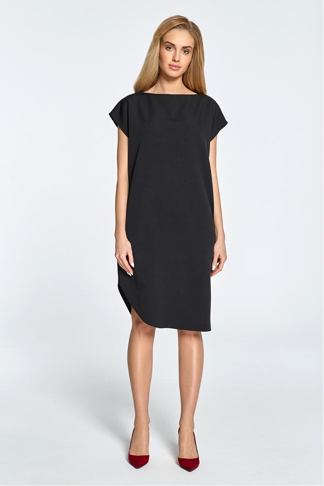 CM3457 Prosta sukienka z rozcięciem na udo - czarna