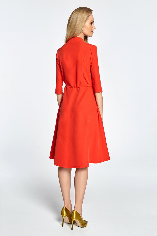 CM3458 Sukienka midi na zakładkę z tunelem - czerwona