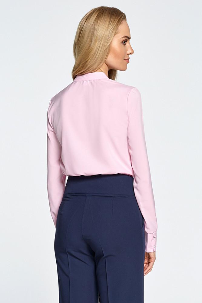 CM2893 Gustowna bluzka koszulowa z długim rękawem - różowa