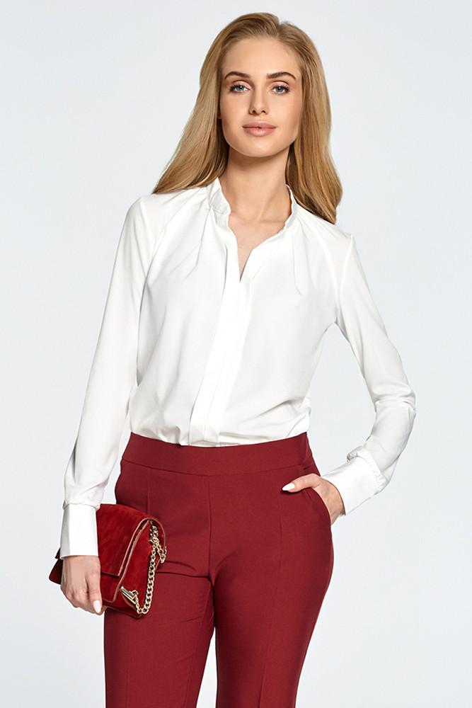 CM2893 Gustowna bluzka koszulowa z długim rękawem - ecru