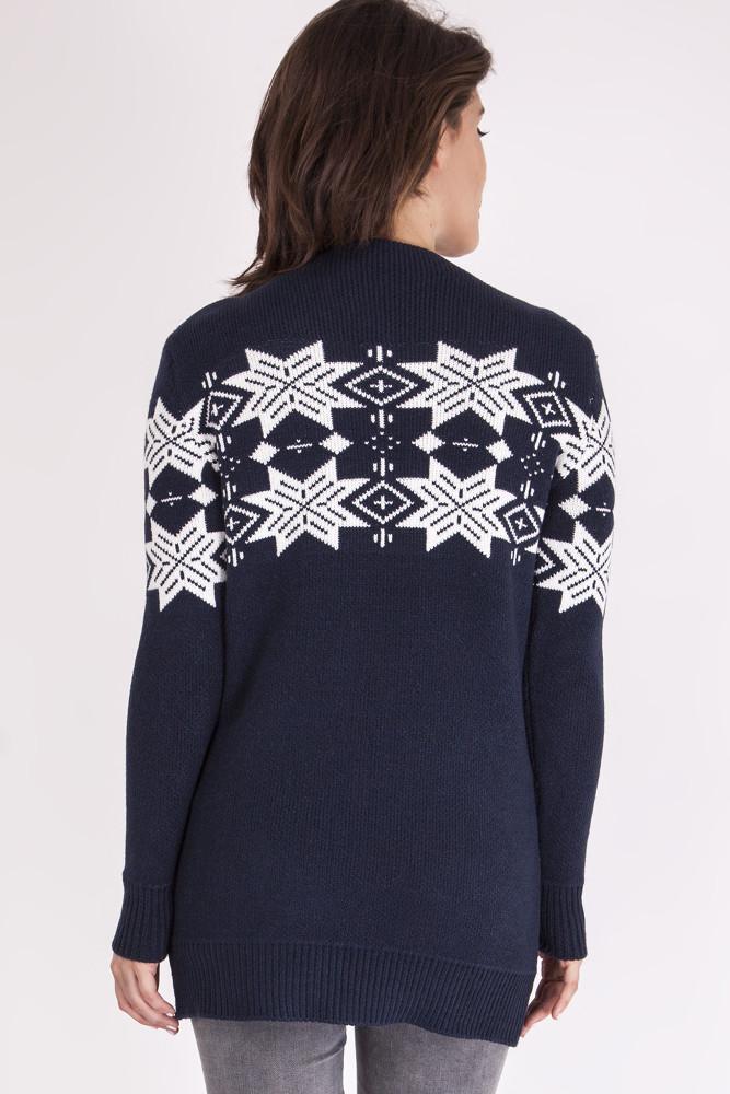 CM3459 Nowoczesny sweter na zimę - granatowy-ecru