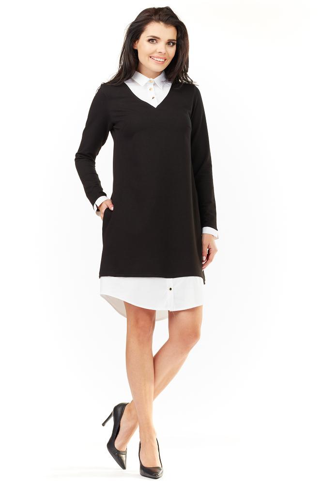 be9e549697 CM3487 Elegancka sukienka z kołnierzykiem - czarna ...