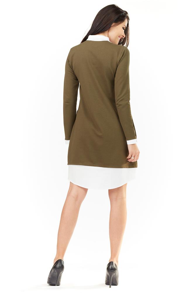 CM3487 Elegancka sukienka z kołnierzykiem - oliwkowa