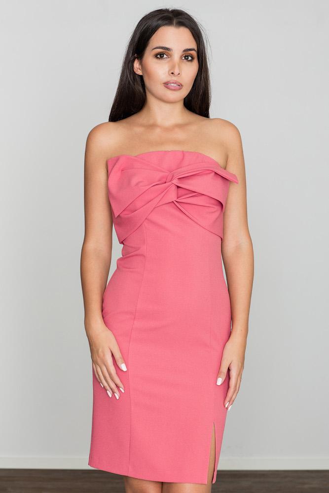 CM3467 Dopasowana sukienka z kokardą - koralowa