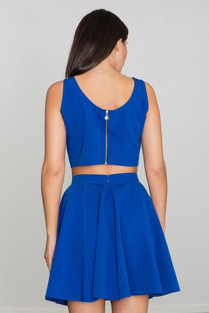 CM3468 Komplet - luźny top z spódnicą w kliny - niebieski