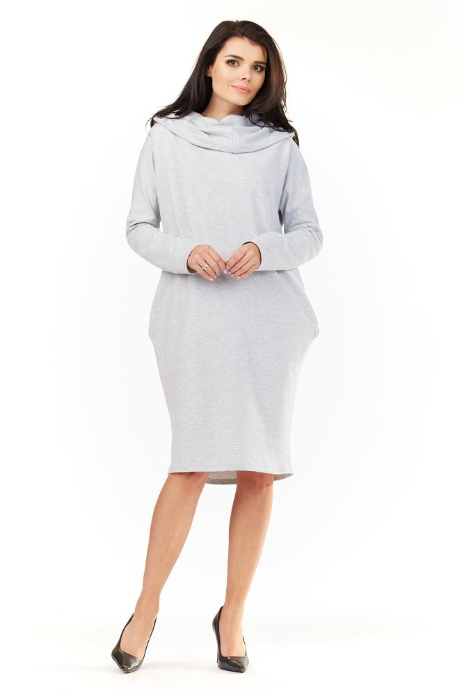 CM3489 Luźna sukienka z kieszeniami i kapturem - szara