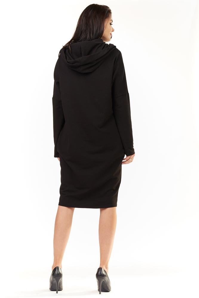 CM3489 Luźna sukienka z kieszeniami i kapturem - czarna