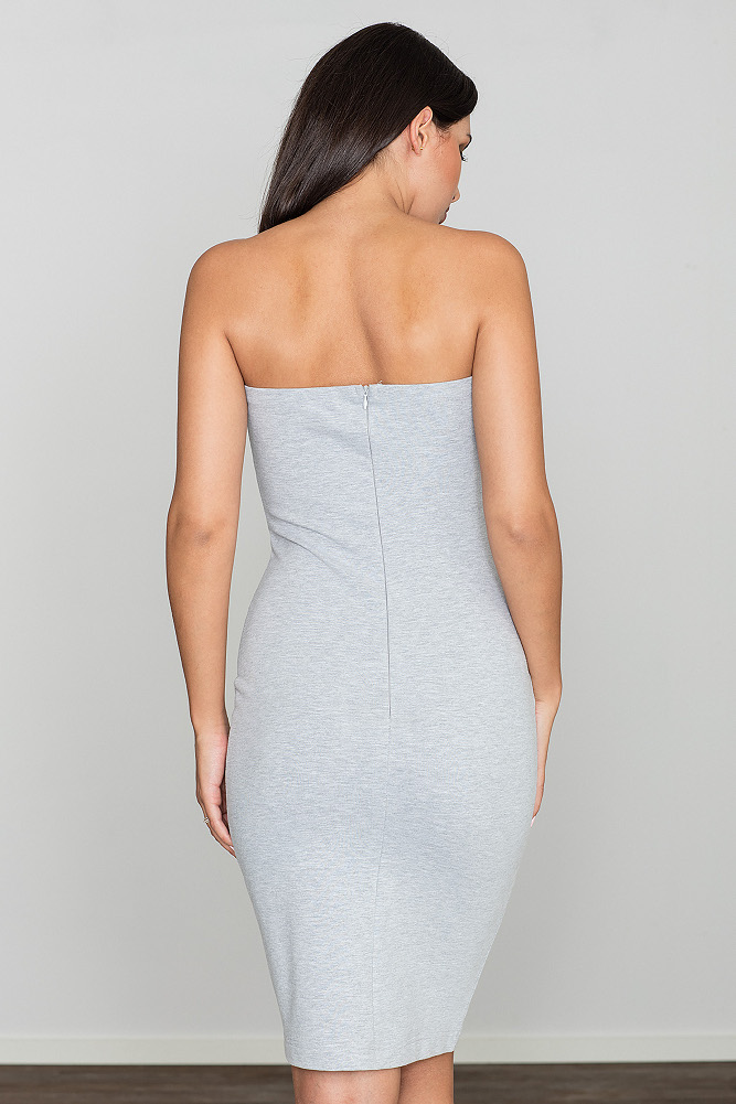 CM3470 Dopasowana bawełniana sukienka - szara
