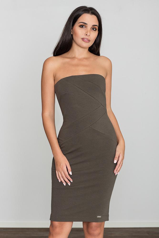 CM3470 Dopasowana bawełniana sukienka - oliwkowa
