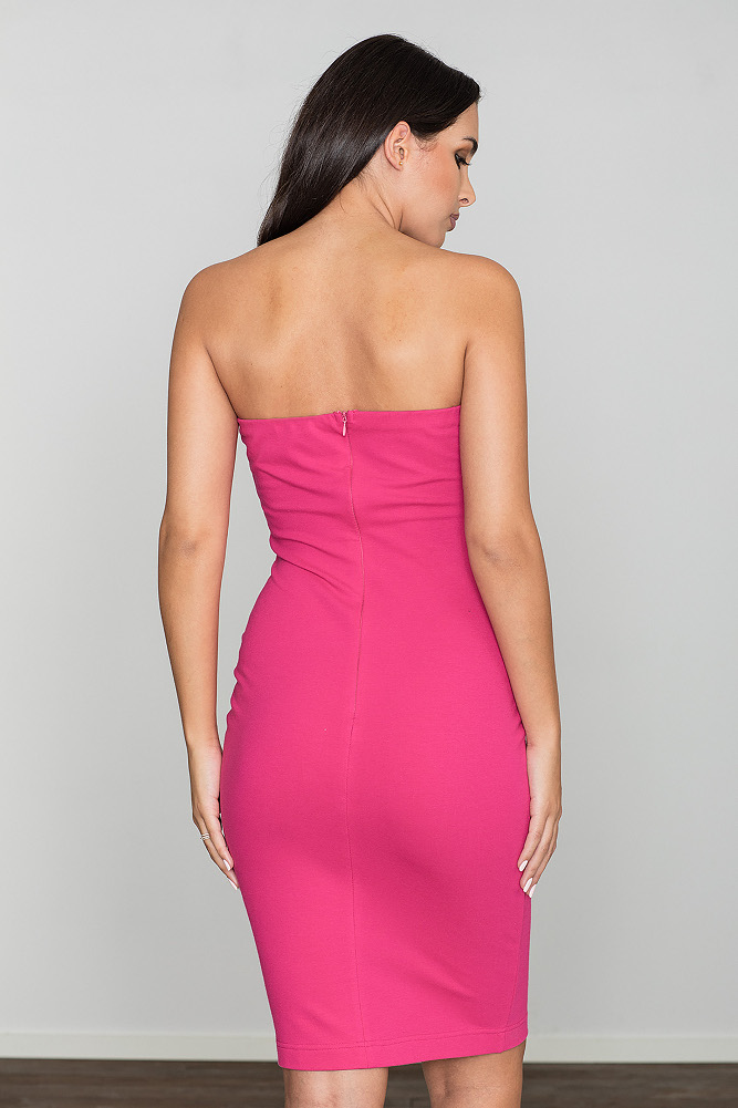 CM3470 Dopasowana bawełniana sukienka - fuksja