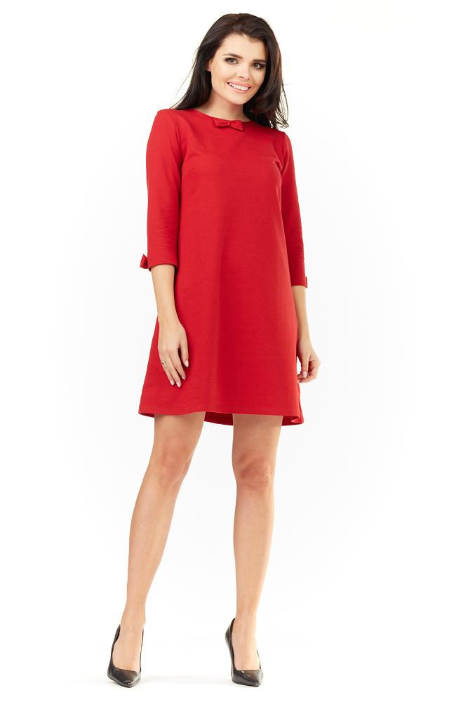 CM3490 Urocza sukienka mini z rękawami 3/4 - czerwona
