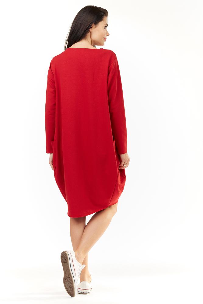 CM3491 Wygodna sukienka dresowa z długim rękawem - czerwona
