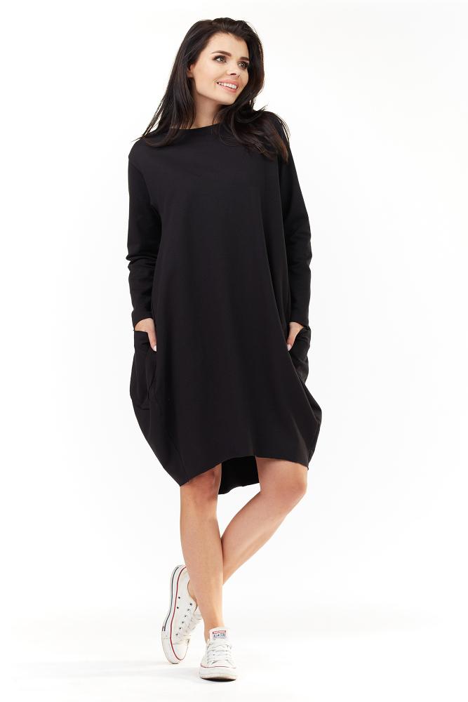 CM3491 Wygodna sukienka dresowa z długim rękawem - czarna