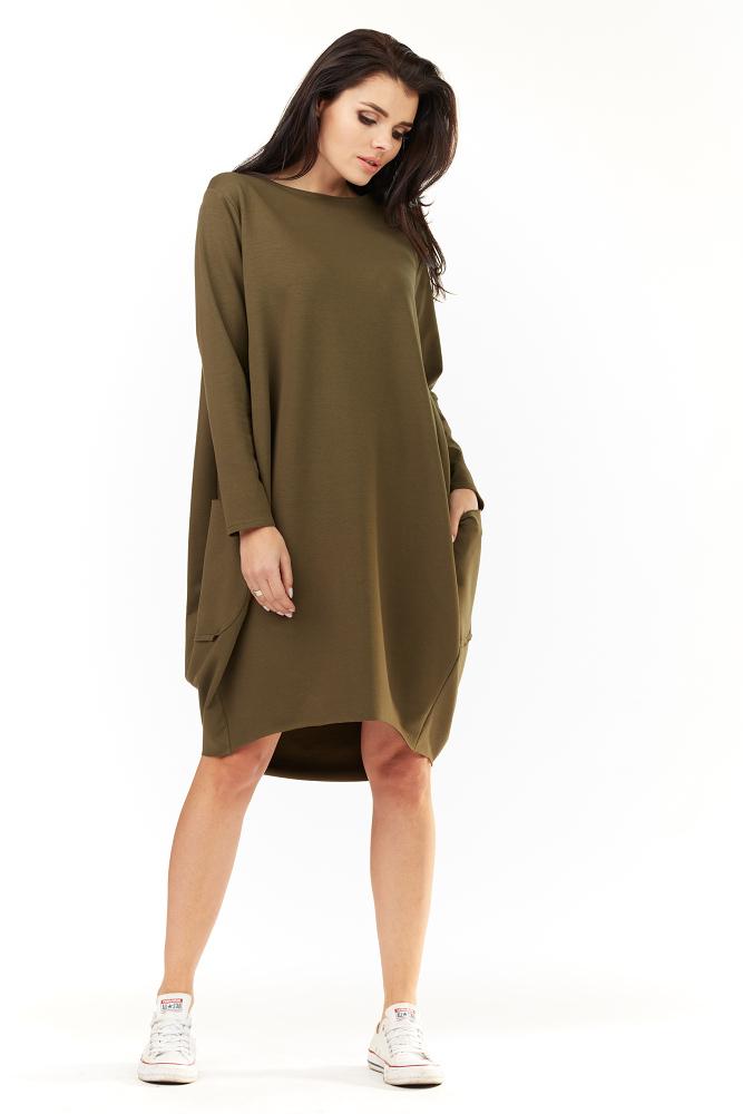 CM3491 Wygodna sukienka dresowa z długim rękawem - oliwkowa