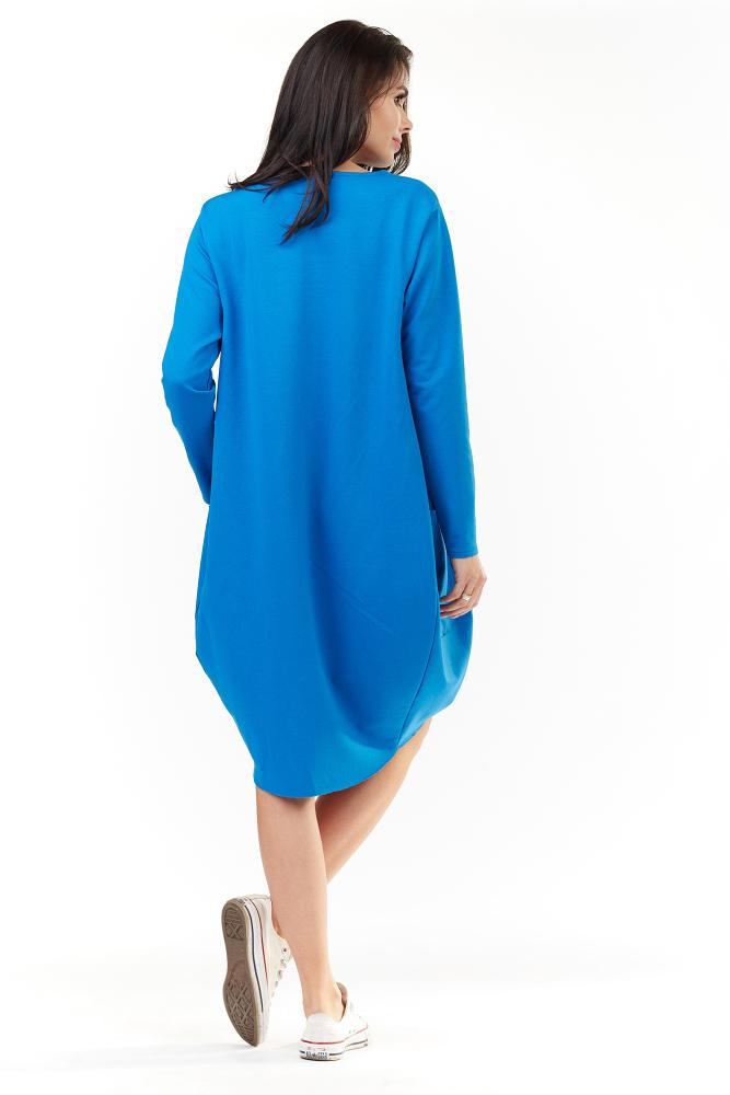 CM3491 Wygodna sukienka dresowa z długim rękawem - niebieska