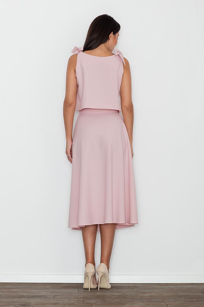 CM3473 Komplet - bluzka ze spódnicą - różowy