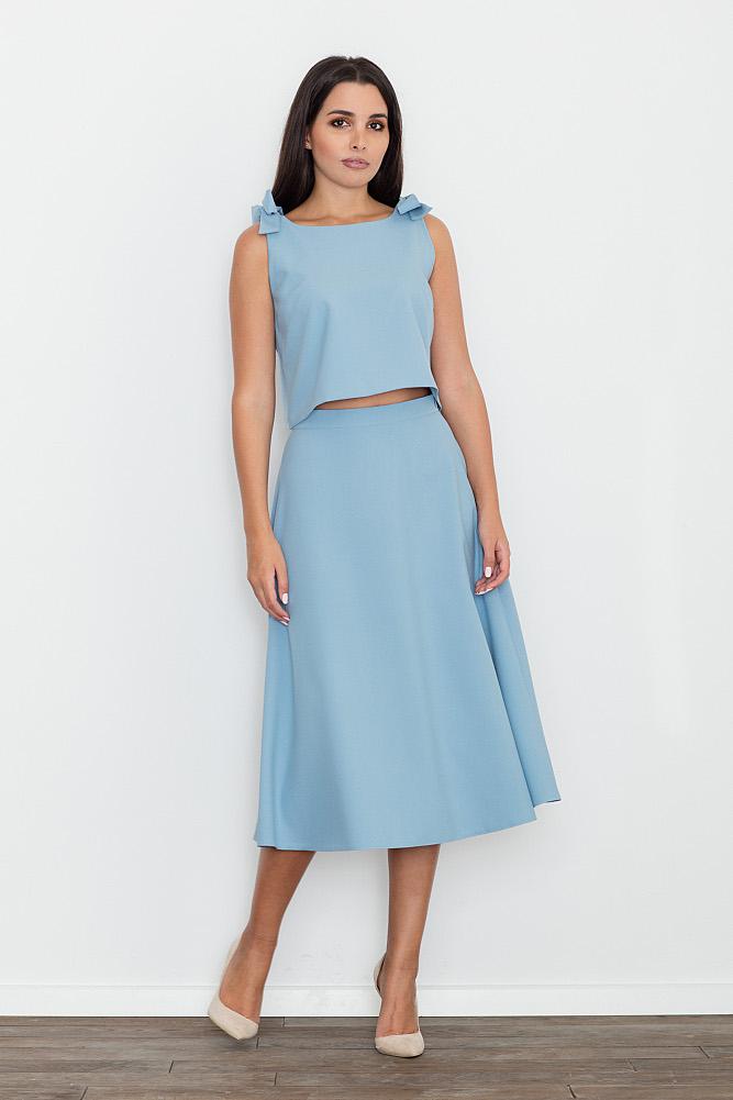 CM3473 Komplet - bluzka ze spódnicą - niebieski