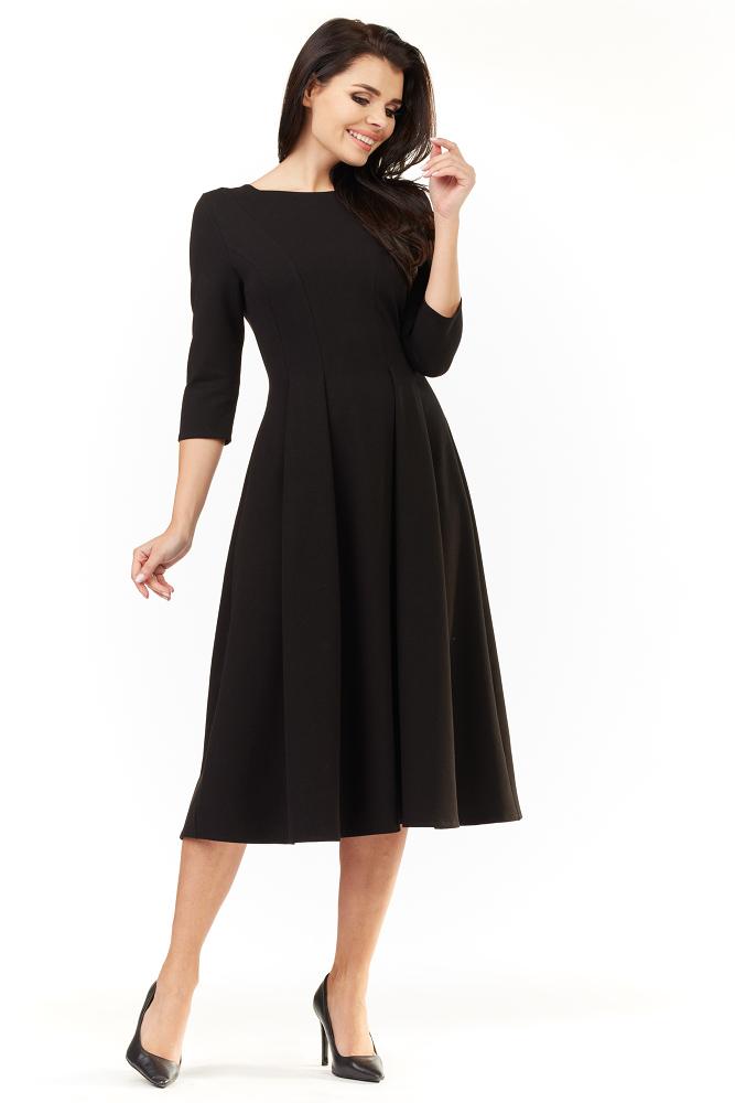 c5abdb7418 CM3492 Elegancka rozkloszowana sukienka midi - czarna ...