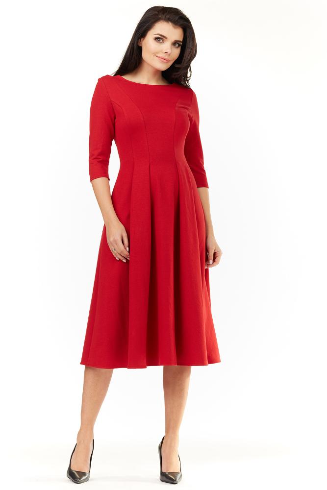 CM3492 Elegancka rozkloszowana sukienka midi - czerwona