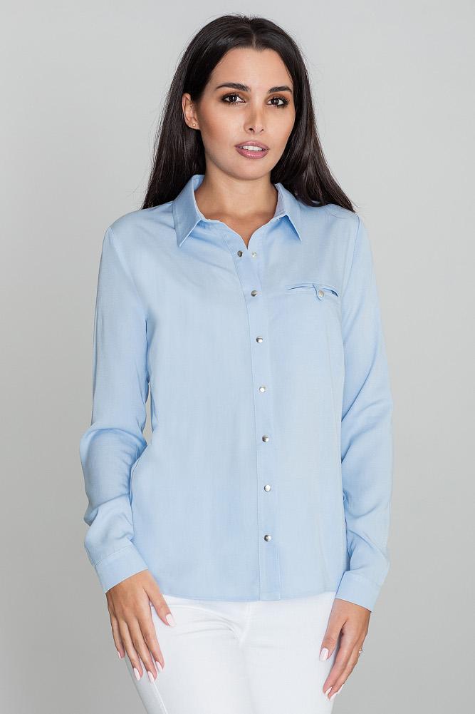 CM3474 Klasyczna wiskozowa koszula - błękitna