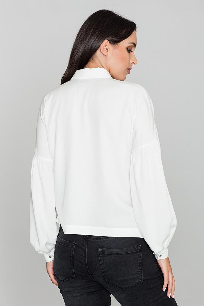 CM3475 Kimonowa koszula z długim rękawem - ecru